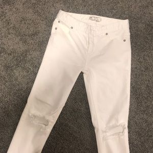 Free people mid rise white jeans